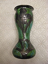 Green artglass vase with silver overlay or applique???