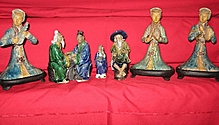 Oriental Asian figurines Red Jade?  bisque? porcelain??