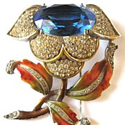Who's the Designer~Metallic Enamel, Pave Rhinestone, & Faceted Glass Stone Floral Fur Clip ~ Signed with a 4