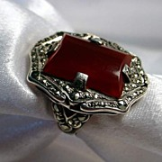 Sterling, Marcasite & ..... Ladies Ring - Size 5 1/4