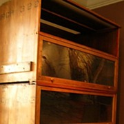 """Antique wood and glass bookcases 94"""" high X 48"""" long"""