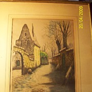 Antique Hand Colored Pencil  Signed Etching