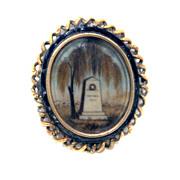 Antique Hair Art Mourning PIN Weeping Willow 16KG Georgian RARE