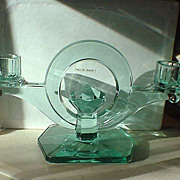 Aqua glass candlestick