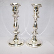 "Sterling Monogram ""H"" Candlesticks by Unknown Maker"