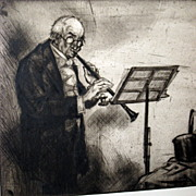Vintage Signed Etching of a Senior Concert Musician w Clarinet