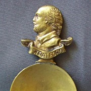 Victorian Brass Figural Shakespeare  Tea Caddy Spoon