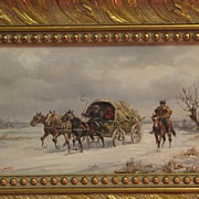 Russian painting on canvas signed by ? J. Wotski
