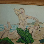 1950's Vintage Gay Art Themed Oil Painting Nude Soldiers South Pacific