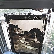 Huge Glass Negative of Navy, Air Force, Statue of Liberty Painting World War II Era