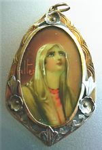 Miniature Painting of Madonna 18 K Gold Pendant Signed