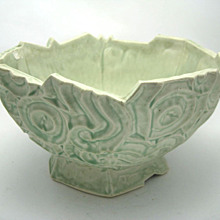 Celery Green Pottery Bowl Signed Unusual  shape