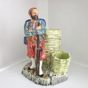 MAJOLICA 19C Spill Vase - Maker - Figure