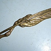Jules Moigniez Bronze Letter Opener Bird Feather & Talon
