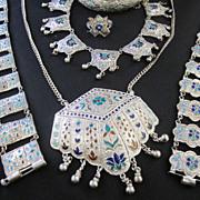 1920s Jewels of India ? Set In Velvet Box Enamel Necklaces Bracelets Ring