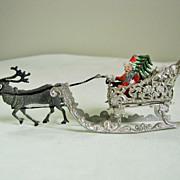 Vintage Filigree Soft Metal Christmas Santa & Sleigh