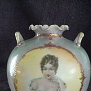 French Opaline Glass Portrait Vase Duchesse de Montpensier 19th century