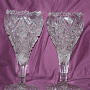 American Brilliant Cut Chalice Vases