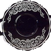 Antique Black Amethyst Glass, Sterling Overlay, Serving Plate