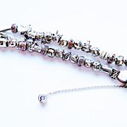 Double Strand Sterling and 14k YG Slide Bracelet ~ circa mid 1980's