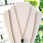 Vintage Maybe Two Strand Gold Tone Chains Green Carved Pendant
