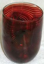 Cranberry Feathered Art Glass Vase?