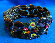 Ornate Enamel & Rhinestone Garden Floral Stretch Bracelet