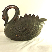 Carved Wood Black Swan Planter