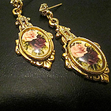 Victorian/Edwardian Style Floral Picture Post Earrings