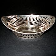 Vintage Sterling Reticulated Almond Bon Bon Nut Basket Dish