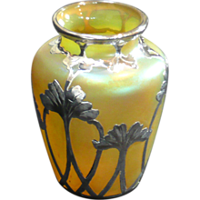 Czech Glass Vase with Art Nouveau Style, La Pierre Silver Overlay