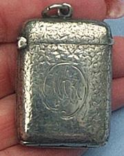 Silver Match Safe, or Vesta, Victorian