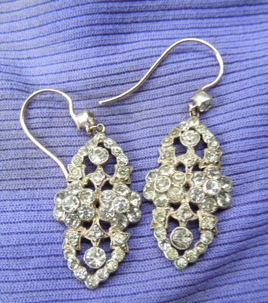 Silver and paste Earrings, Victorian