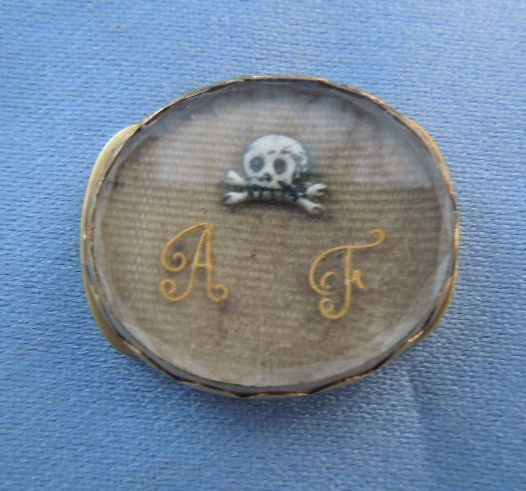 Memorial Jewelry, Mourning Jewelry, Stuart Crystal Slide with Skull, 1690