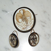 Mourning Jewelry, Memorial Jewelry, Hair Brooch and Earring Set, 18 ct gold, Victorian