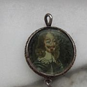 Portrait Miniature of Charles I, Enamel Back, Baroque Pearl