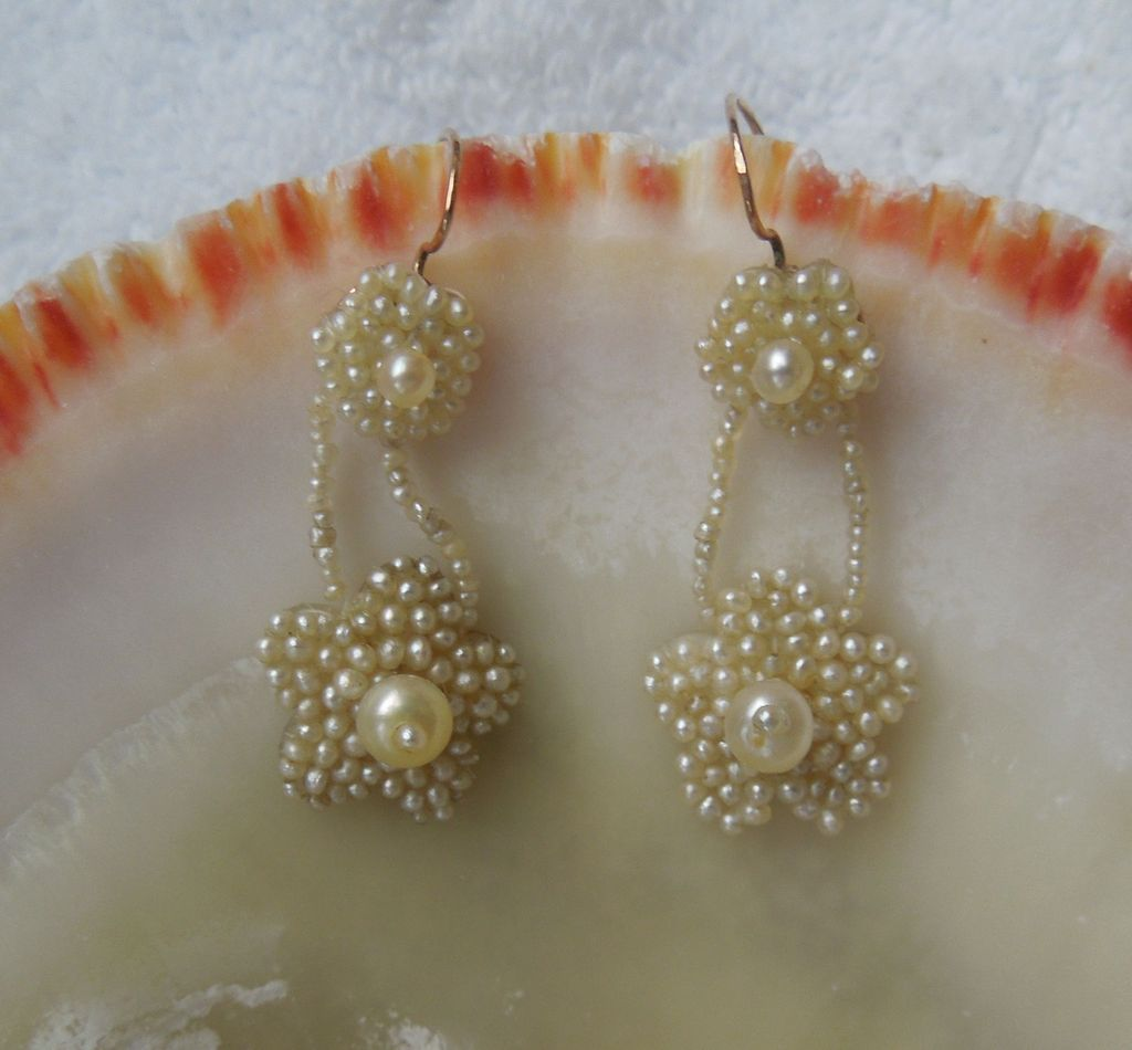 Seed Pearl Earrings, Victorian