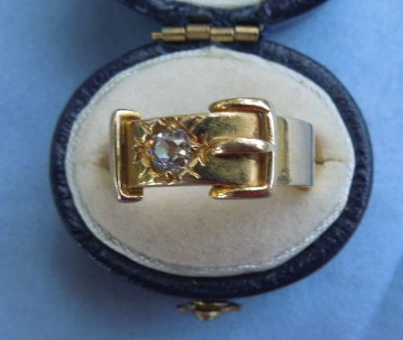 Victorian Buckle Ring, 18 carat, With Rose Cut Diamond