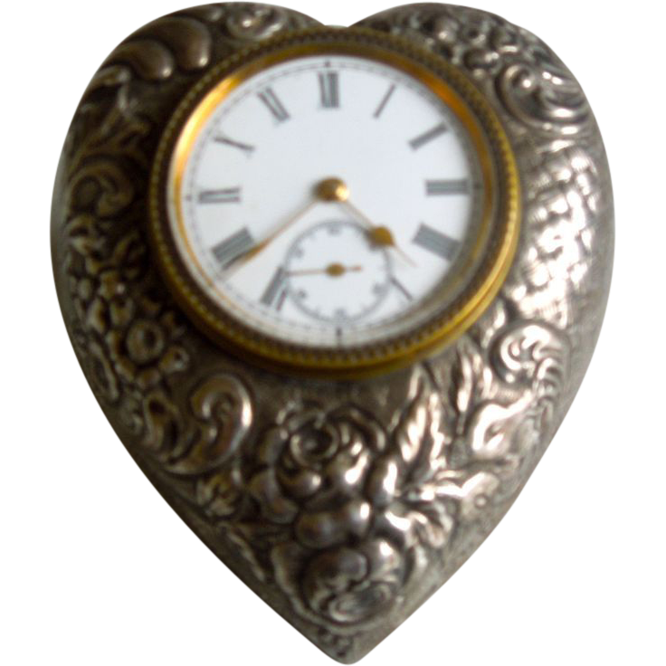 Silver Clock, Heart Shaped, Victorian