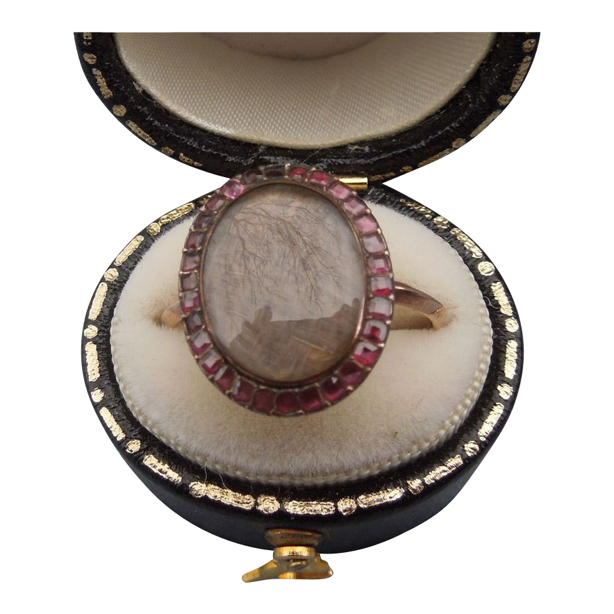 Garnet Hair Ring, Georgian