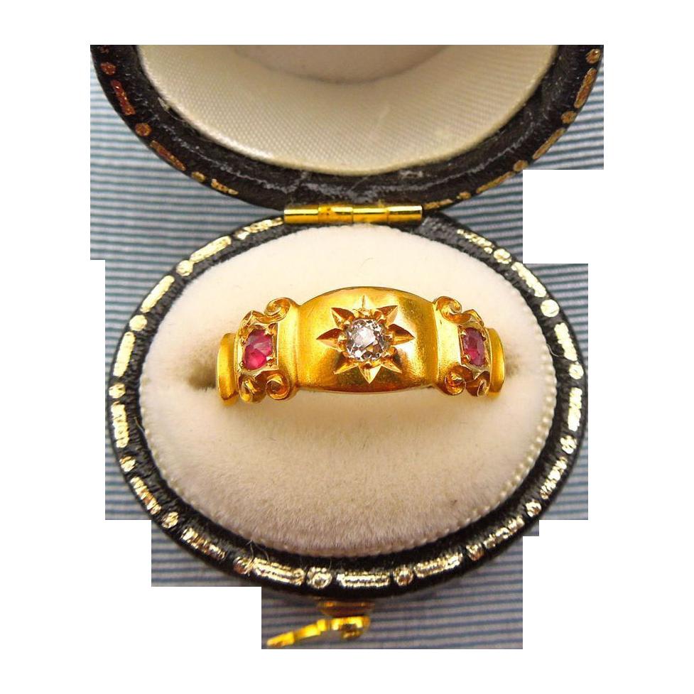 Gypsy Band, Rubies and Diamond, 18 ct, Victorian