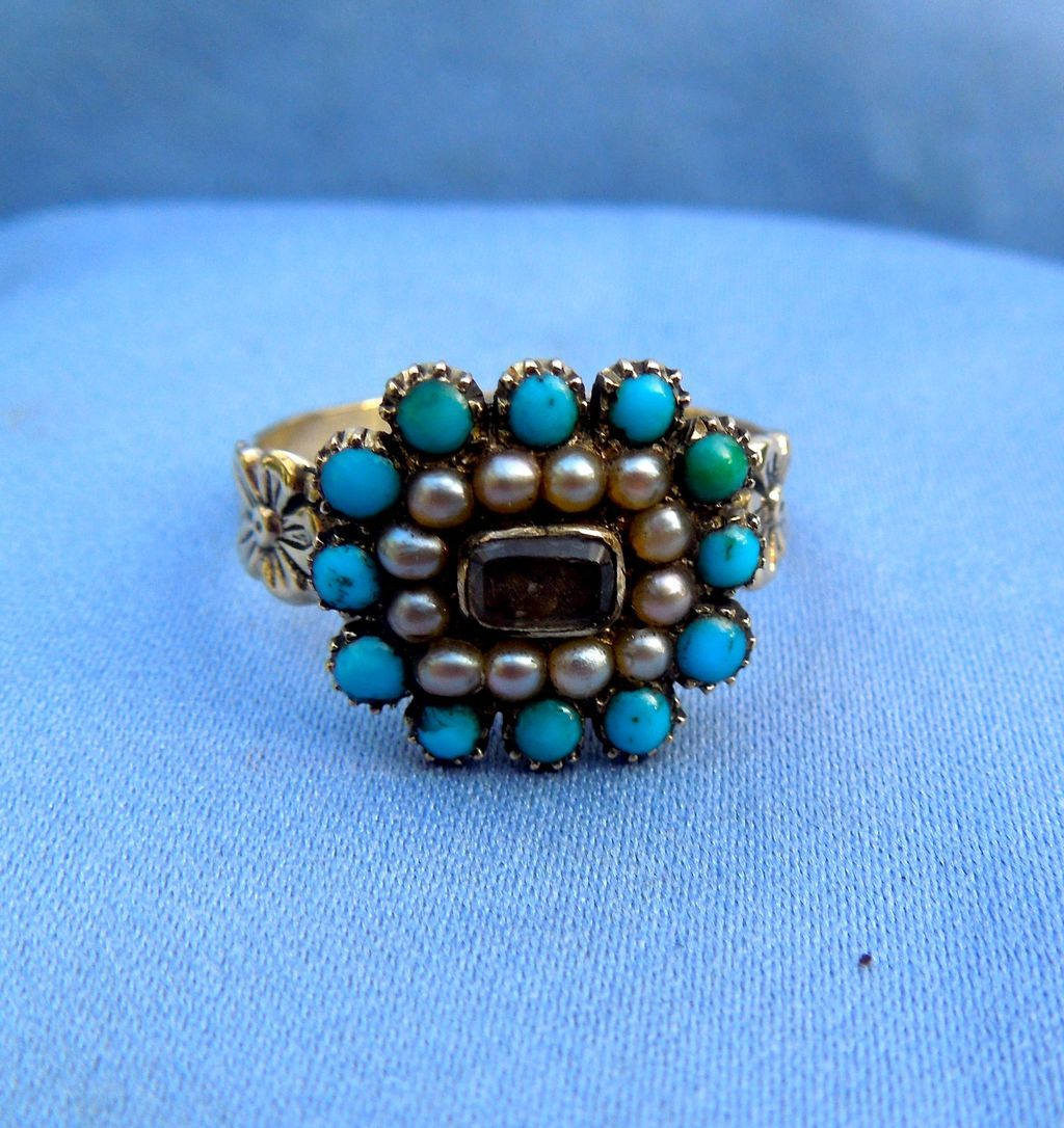 Turquoise and Pearl Hair Ring