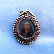 Portrait Miniature of Charles I, Pendant, Watercolor