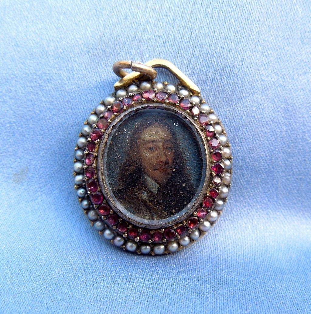 Portrait Miniature of Charles I, Pendant, Watercolor