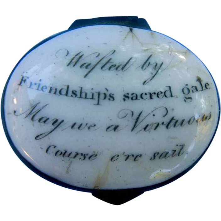 Billston or Battersea Enamel Box, Georgian, Motto