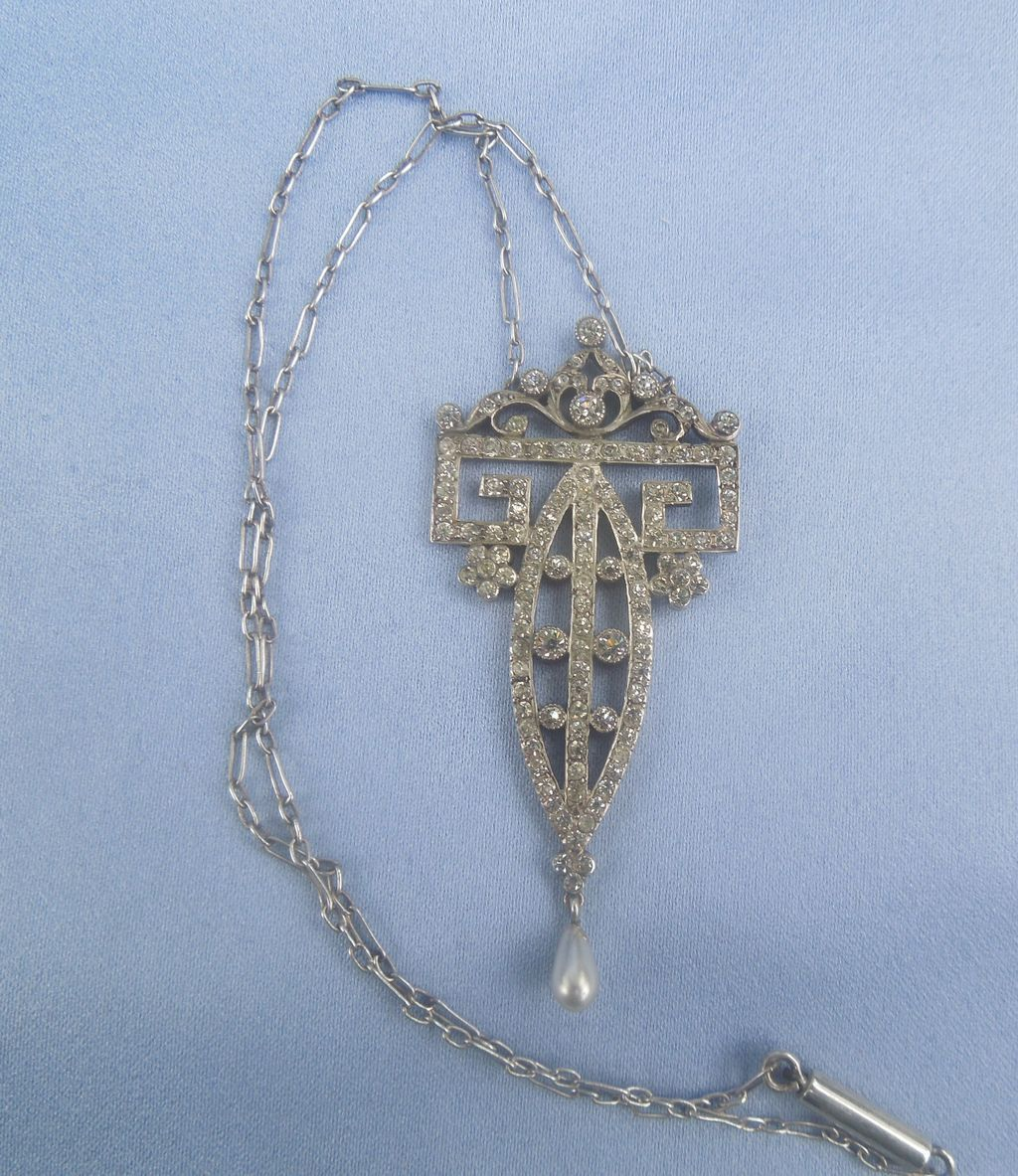 Silver and Paste Pendant With Chain, Edwardian