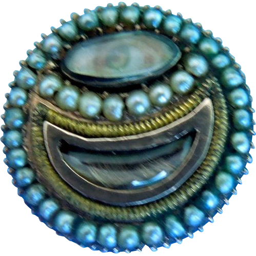 Lover's Eye Brooch with Hair and Natural Seed Pearls, Georgian