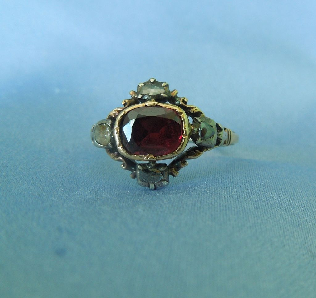 Flat Cut  Garnet and Rose cut diamond Ring, Georgian