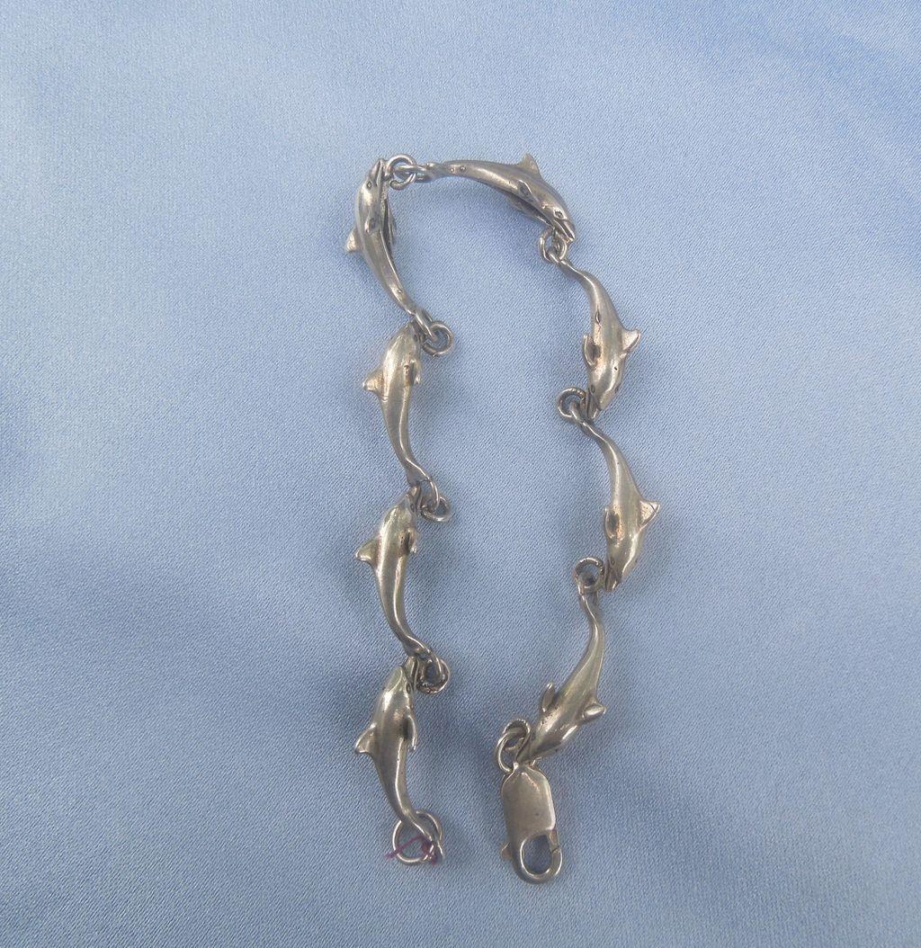 Vintage Sterling Dolphin Bracelet
