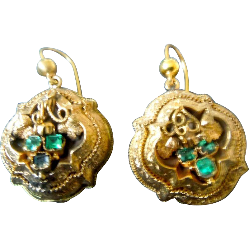 15 ct Emerald Earrings, Victorian